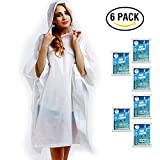Disposable Rain Poncho for Adult by(6 Pack)-with Drawstring Hood and Premium Quality 50% Thicker Material 100% Waterproof Emergency Rain Ponchos-for Concerts,Amusement Parks,Camping-Clear White