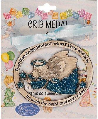 Guardian Angel Crib Medallion (Crib Medal - Luminous Guardian Angel Crib Medal with Blue Ribbon - Guardian Angel Gifts)