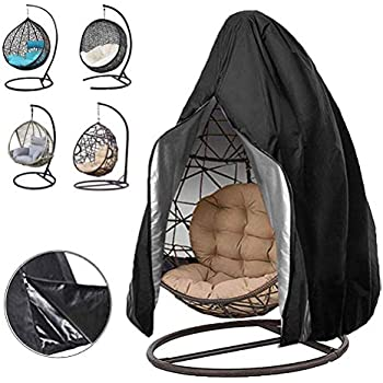 Skyfiree Patio Hanging Chair Cover Wicker Swing Egg Chair Cover Single Waterproof Outdoor Pod Chair Garden Swingasan Cover 75x45 Inches Beige Coffee Patio Lawn Garden Patio Furniture Covers