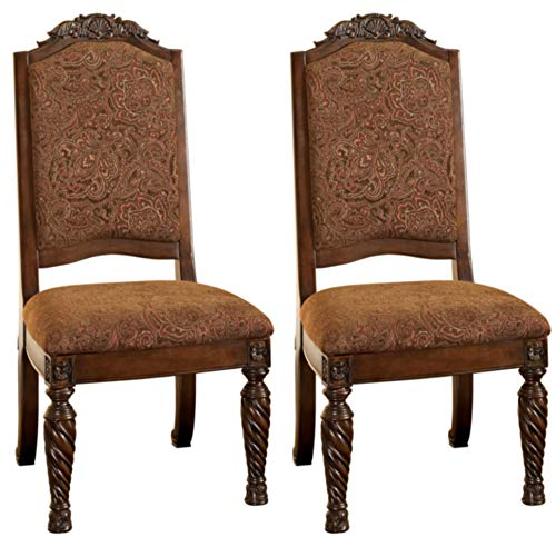 Signature Design By Ashley - North Shore Dining Upholstered Side Chair - Set of 2 - Traditional Style - Dark Brown (Dining Room Upholstered Chairs Fully)