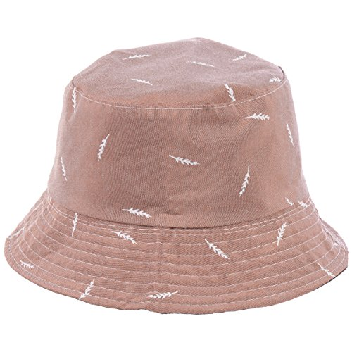 (BYOS Fashion Packable Reversible Black Printed Fisherman Bucket Sun Hat, Many Patterns (Leafy Lt. Brown))