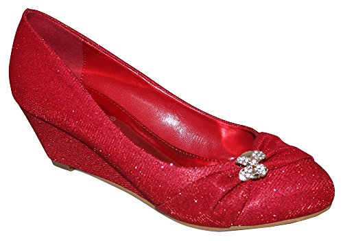 Chic Feet Ladies Red Glitter Party Prom Bridesmaid Evening Low Heel Wedge Court Shoes FdyXbvH