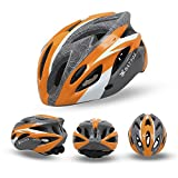 ChezMax Lightweight Breathable Airflow Bike Helmet Specialized for Road and Mountain Biking for Men and Women, Orange-Gray