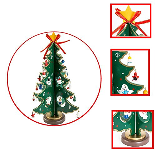 Cozzy Wood Tabletop Christmas Tree With Miniature Wooden Ornaments Diy Xmas Desk Decoration Holiday Touch Gift For Families Friends And Lovers