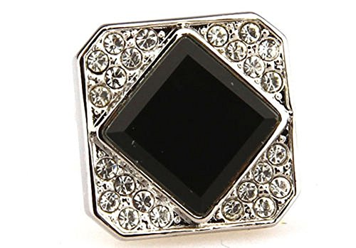 Designer Diamond Cufflinks (Mens Executive Cufflinks Designer Diamond Shaped Persian Black Crystal Cuff Links)