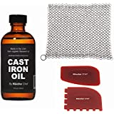 Cast Iron Cookware Maintenance Set - 4oz Organic Cast Iron Oil & XL 8x8 Inch Premium 316 Stainless Steel Chainmail Scrubber & Durable polycarbonate/BPA free Cast Iron Pan Scrapers