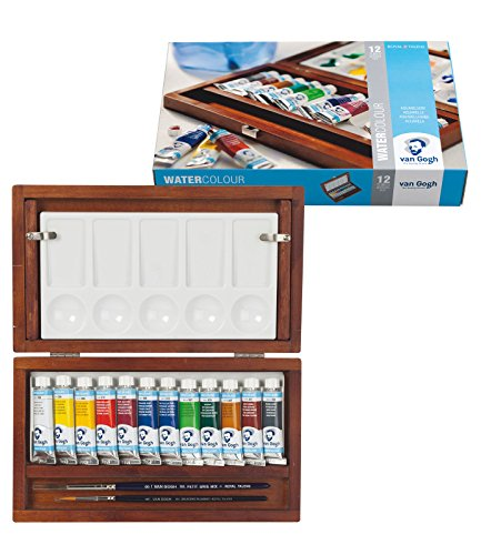 Van Gogh Royal Talens Artists' Watercolor Lux Wood Box Set: 12 Tubes of Colors, 2 Brushes and Palette