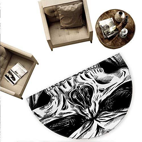 Halloween Semicircular Cushion Gothic Dead Skull Face Close Up Sketch Evil Anatomy Skeleton Artsy Illustration Entry Door Mat H 59
