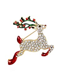 Houlife Gold Plated Sparkling Christmas Reindeer Brooch Pins with Colorful Shiny Rhinestone Cute Xmas Holiday Party Wedding Jewelry Gift for Women Girls - 2 Inch x 1.6 Inch