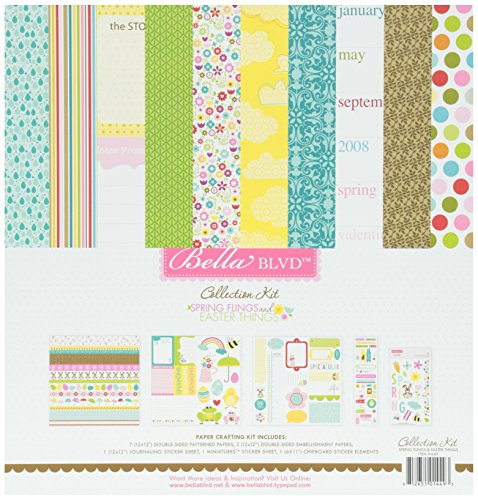 Bella Blvd Spring Flings and Easter Things Single Sided Paper and Stickers, Collection (Spring Fling Collection)