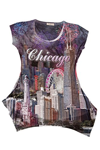 Sweet Gisele Chicago City Skyline Rhinestone-Embellished Souvenir Tunic (Chicago Tunic)