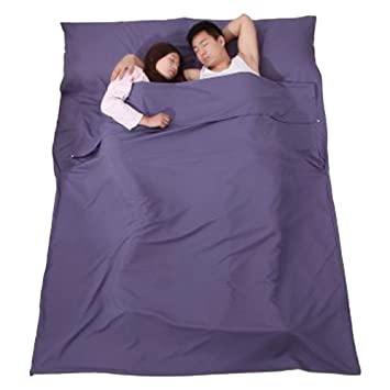 Bolsa de dormir para dos personas de ZooBoo, ideal para acampar, para llevar a