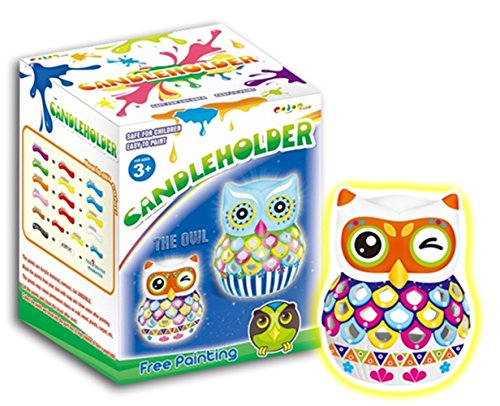 Arts and Crafts - DIY Owl Candle Holder Painting (Paint Brush Birthday Candles)