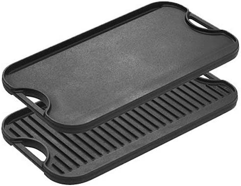 Lodge LPGI3PLT Pro-Grid Cast Iron Reversible Grill/Griddle Pan with Easy-Grip Handles