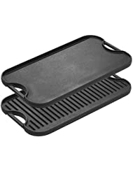 "Lodge LPGI3 Pro-Grid Cast Iron Reversible 20"" x 10.44"" Grill/Griddle Pan with Easy-Grip Handles, 10.5"" x 20"""