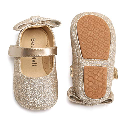 Bear Mall Infant Baby Girl Shoes Soft Sole Toddler Ballet Flats Baby Walking Shoes (9-12 Months-4 3/4 Inch, Giltter Gold)]()