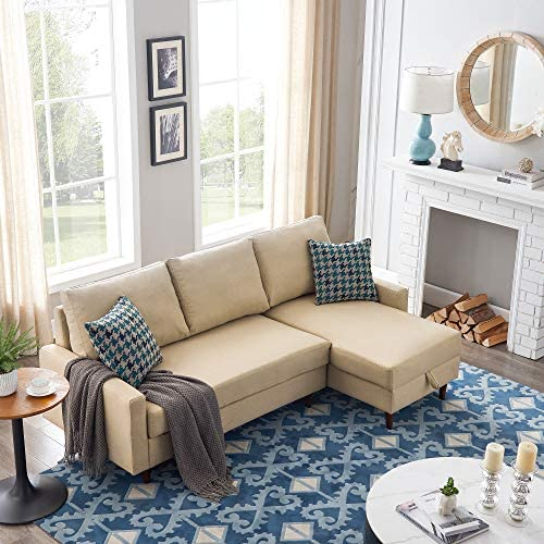Sleeper Sectional Sofa, 3 Seat Sectional Sofa with Storage, L-Shaped Sofa Bed