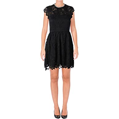 179e7735810b Juicy Couture Women s Knit Baroque Floral Lace Dress w Embroidered Neck Pitch  Black 10
