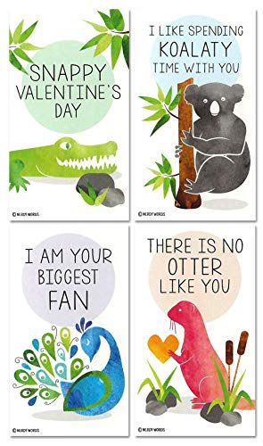 Mini Crocodile Otter Koala Peacock Valentines (Set of 24, Wallet-Sized Cards) for Valentine's Day by Nerdy Words