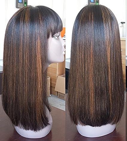 Amazon.com: WOB pelo 150% densidad Glueless None Lace peluca ...