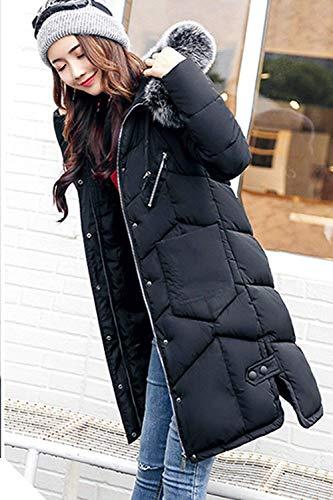 Retro Larga Abrigo Mujer Fashion Pluma Con Outdoor Invierno De Capucha Casuales Día Manga Talla Caliente Negro Piel Acolchado Grande Largo Plumas Elegantes Parka Ux6Rqww