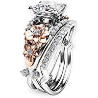 suchadaluckyshop by Lucky Gorgeous Women's 925 Silver White Sapphire Ring Set Gold Flower Wedding Jewelry (6)