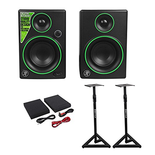 (2) Mackie CR3 3'' Creative Reference Multimedia Monitors Speakers+Monitor Stands by Mackie
