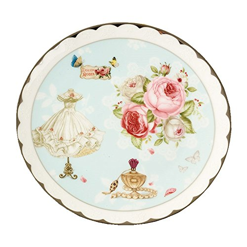 (AWHOME Bone China Dinner Plate / Dessert 8 Inch Gold-Plated Applique Plate Box (AB-006))