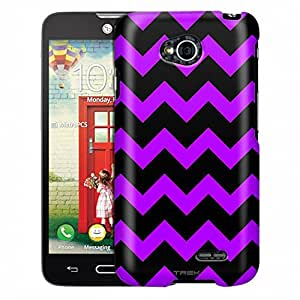 LG Realm Case, Slim Fit Snap On Cover by Trek Chevron Purple Black Case