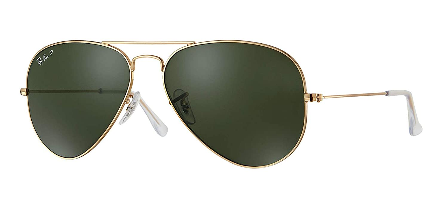 14f976d662f43d Amazon.com  Ray-Ban RB3025 001 58 Unisex Aviator Sunglasses Polarized (Gold  Frame Green Polarized Lens 001 58