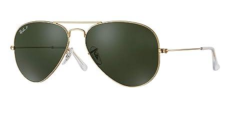 8a84b87d19f Amazon.com  Ray-Ban RB3025 001 58 Unisex Aviator Sunglasses Polarized (Gold  Frame Green Polarized Lens 001 58