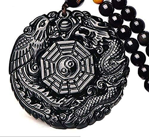 c1lint7785631 Natural Obsidian Dragon Phoenix The Eight Trigrams Pendant Amulet Peace Mascot