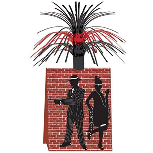 hersrfv home Gangster Red Black Centerpiece Roaring 20s Party Supplies and Table -