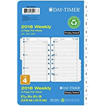 """Day-Timer Refill 2018, Two Page Per Week, January 2018 - December 2018, 5-1/2"""" x 8-1/2"""" ,Loose Leaf, Desk Size, Simply Stated (12028-1801)"""