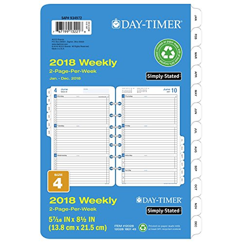 Day-Timer Refill 2018, Two Page Per Week, January 2018 - December 2018, 5-1/2