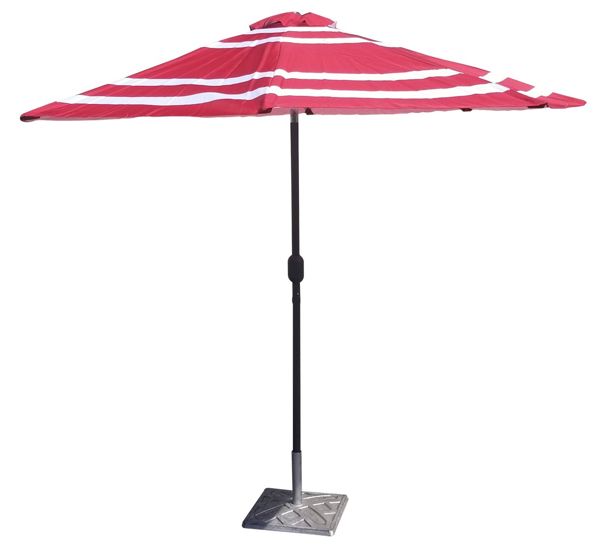 0d8563507 Amazon.com : VMI 9' Wide Striped Aluminum Adjustable Umbrella with Crank,  Red and White : Garden & Outdoor
