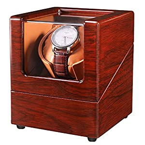 LLS Watch Winder for Single Automatic Watches with Quiet Motors Piano Paint by AC Adapter or Battery