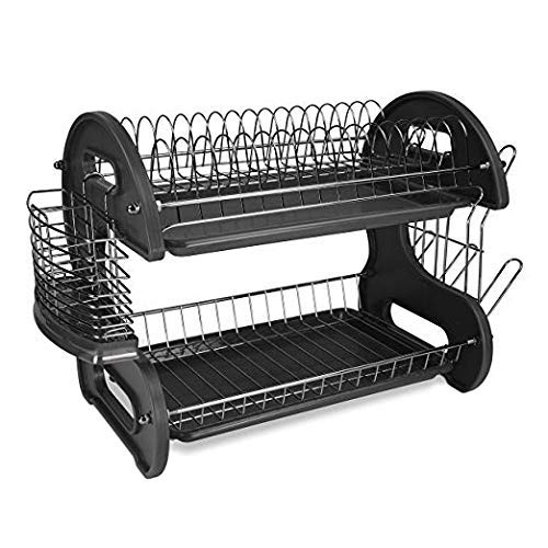 red 2 tier dish rack - 9