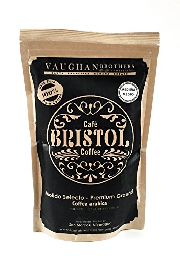 Bristol Coffee Medium Roast Ground Coffee - Single Origin Premium Specialty - Highest Quality Nicaraguan Coffee - Pure Arabica - Sustainably Grown - Non-GMO - (12.61 Ounce Ground Coffee)