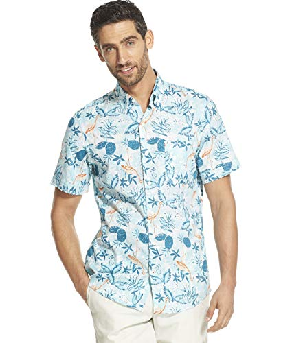 IZOD Men's Big and Tall Saltwater Dockside Chambray Short Sleeve Button Down Pattern Shirt, Ocean Depths, 3X-Large