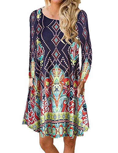 Sherosa Womens Comfy Swing Tunic with Leggings Long Sleeve Floral Print T-Shirt Dress (M, Color)