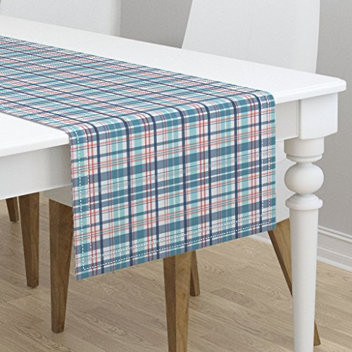 (Table Runner - Nautical Plaid Blue Red Aqua Coastal Stripes by Heatherdutton - Cotton Sateen Table Runner 16 x)