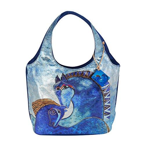 - Laurel Burch Teal Mares Foiled Canvas Small Scoop Tote Handbag Purse