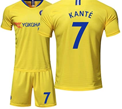 7523f7870fa LISIMKE Soccer Team Away Soccer 2018/19 Chelsea Kante #7 Kid Youth Replica  Jersey