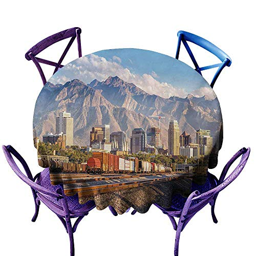 Zodel Resistant Table Cover,Landscape Downtown Salt Lake City Skyline in Utah USA Railroads Mountains Buildings Urban,Resistant/Spill-Proof/Waterproof Table Cover,70 -
