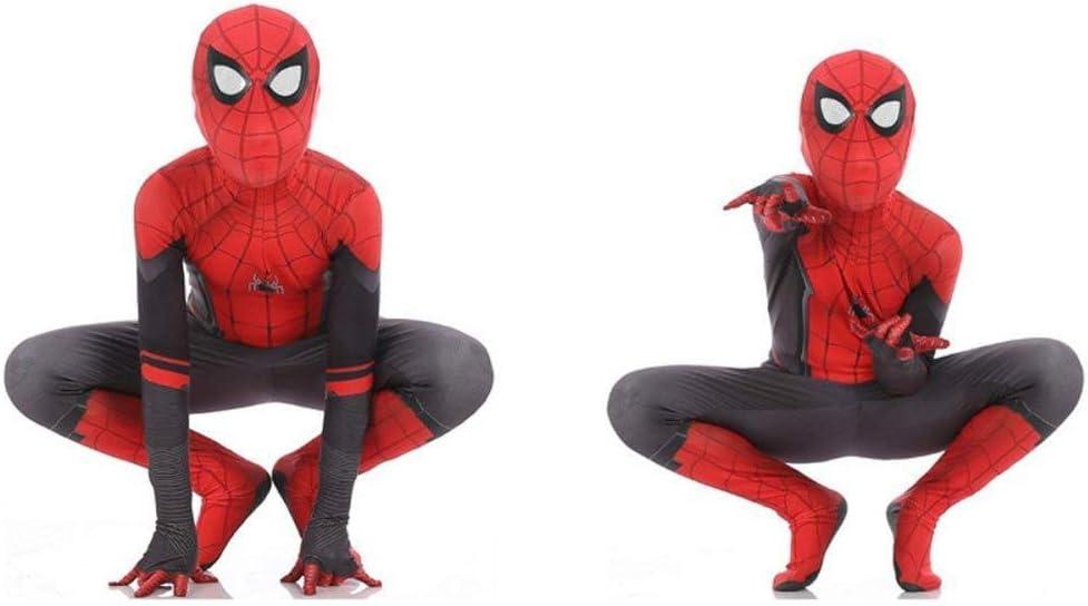 WOLJW Costume Cosplay Spiderman Bambini Far from Home Full Body Suit Film Costume Tuta del Supereroe Set Bambino,Child,XL