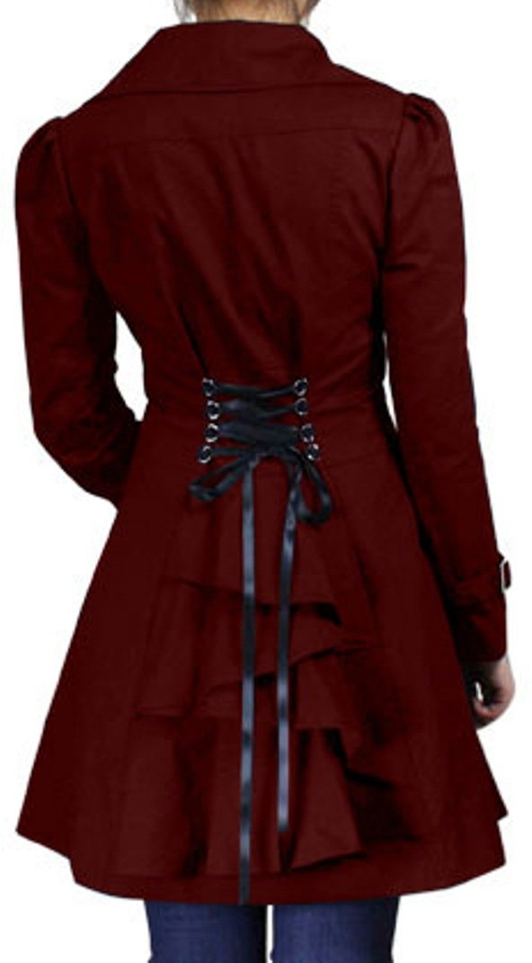 (XS-28) Rainy Night in Paris - Burgundy Red Victorian Gothic Corset Vintage Style Jacket (P24)