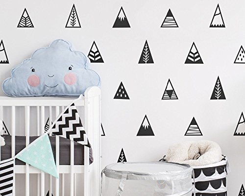 Set of 48pcs Kids Room Decor Sticker Nordic Style Mountains Shape Teepee Triangles Wall Sticker Kids Bedroom Decoration Adesivo Decal YYU-11 - Dries Glasses Van Noten