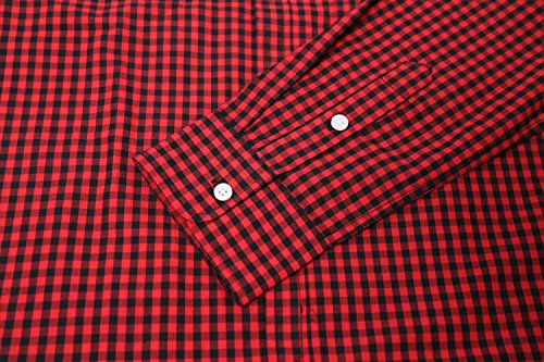 NUTEXROL Mens Dress Shirts Plaid Cotton Classic Slim Fit Long Sleeve Shirts Red&Black M
