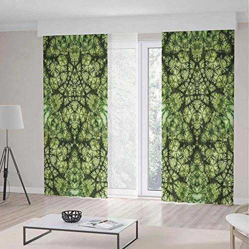 ALUONI Small Window Blackout Curtains TT02 Tie Dye Decor for Bedroom Living Dining Room Kids Youth Room Free Nature Inspired Mind Bind Folded 2 Panel Set 157W x 106LInches